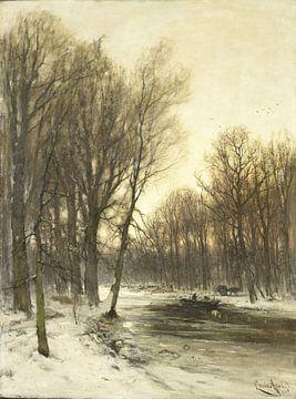 Blick auf einen verschneiten Wald am Nachmittag, Louis Apol