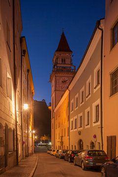 Rathaus, Schottgasse bei Abendd�mmerung , Altstadt, Passau