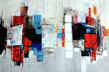 Abstrakte Komposition in Blau,Rot,Weiß Nr.3