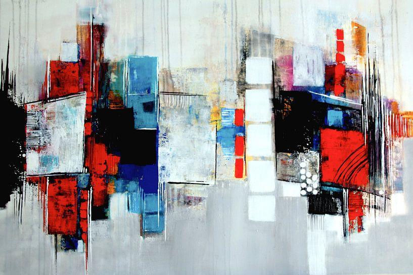 Composition abstraite en bleu,rouge,blanc No.3 sur Claudia Neubauer