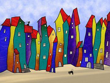 Abstrakt Häuser van Gabi Siebenhühner