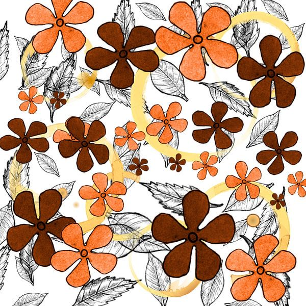 Digital autumn flowers
