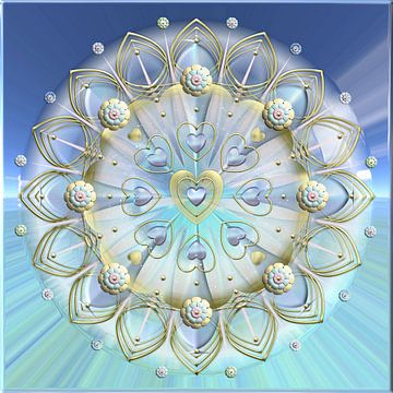 Mandala -  Herz aus gold