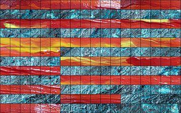 Bildstruktur in blau, rot und gelb van Martin  Uda