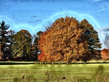 digitale kunst ,enkele bomen in een weiland van Joke te Grotenhuis