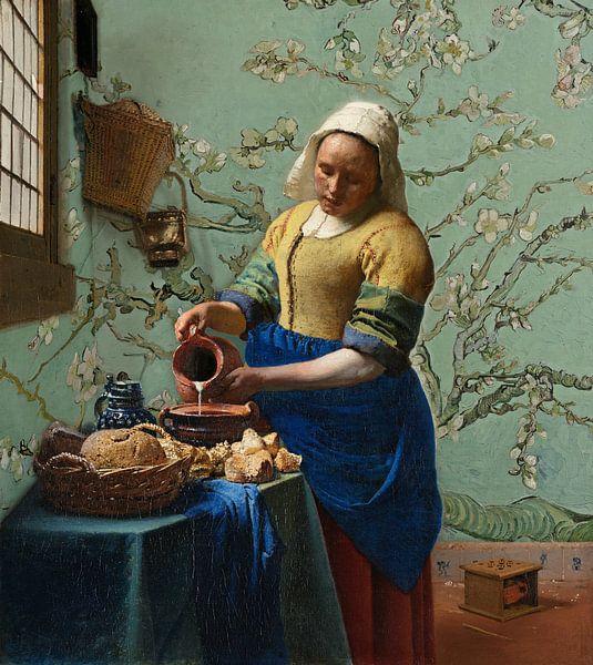 Papier peint La laitière aux fleurs d'amandier (vert mousse) - Vincent van Gogh - Johannes Vermeer sur Lia Morcus