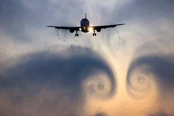 Airplane cloudburst vortex van Bas van der Spek