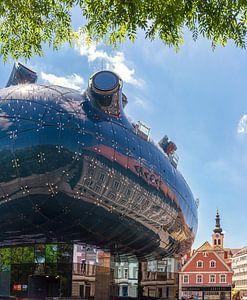 Futuristische architectuur van het Kunsthaus, Graz, Steiermark, Oostenrijk