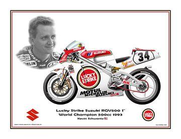 1993 Suzuki RGV500 Gamma #34 Kevin Schwantz (USA) Champion du monde par Guy Golsteyn sur Adam's World