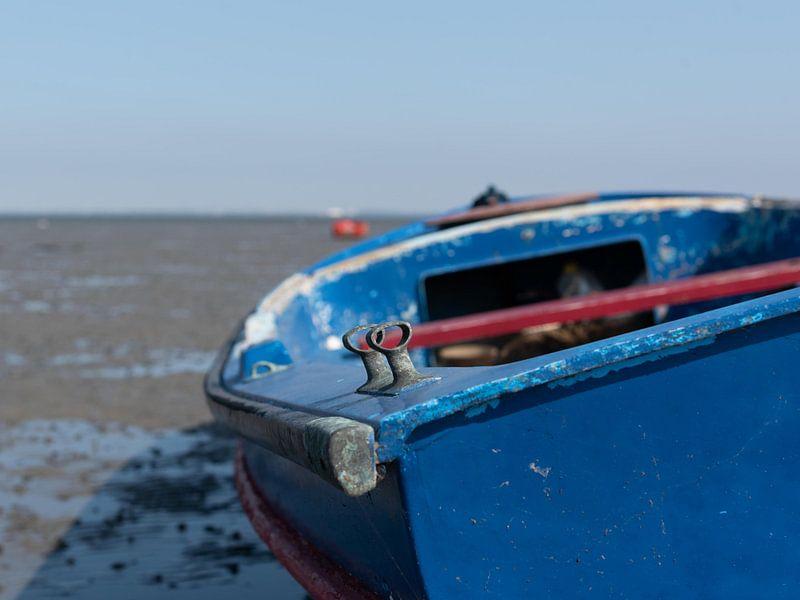 blauwe boot in Krabbedijke van Anita Visschers