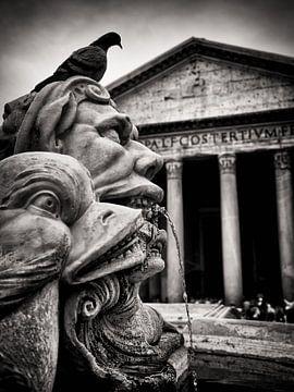 Photographie noir et blanc : Rome - Fontana del Pantheon sur