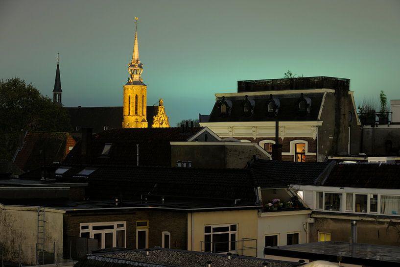 Stadsgezicht van Utrecht met de Catharijnekerk (3) van Donker Utrecht