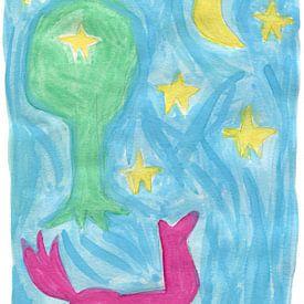 Pferd, Mond, Baum und Sterne von Ivonne Sommer