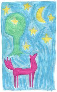 Pferd, Mond, Baum und Sterne