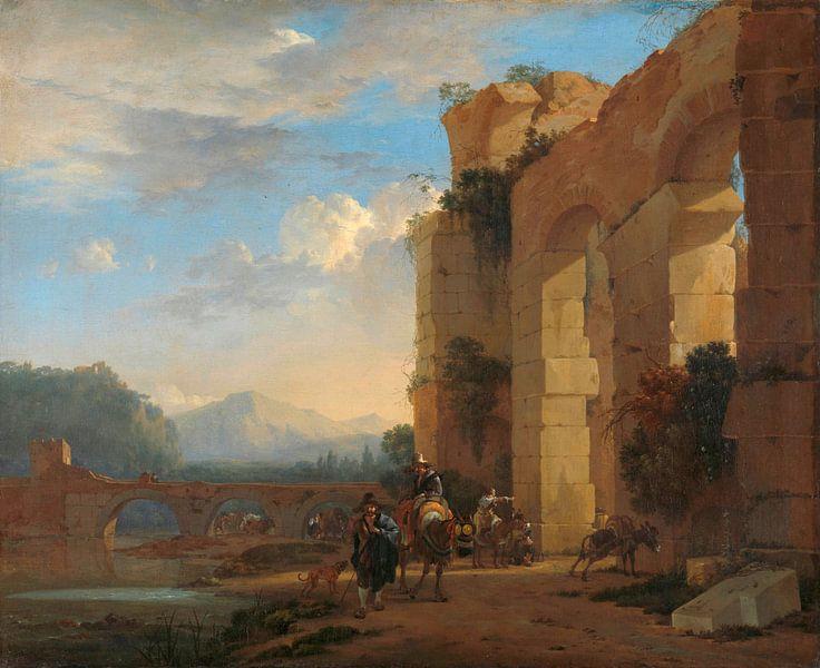 Maultiertreiber neben einer italienischen Ruine, Jan Asselijn von Meesterlijcke Meesters