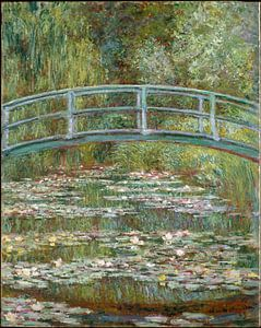 Schilderij De Japanse Brug en de Water Lelies van Claude Monet
