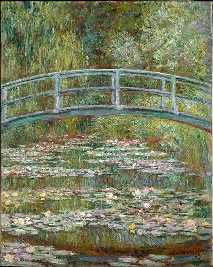 Schilderij De Japanse Brug en de Water Lelies van Claude Monet van Schilderijen Nu
