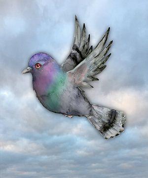 Fliegende Brieftaube von Bianca Wisseloo