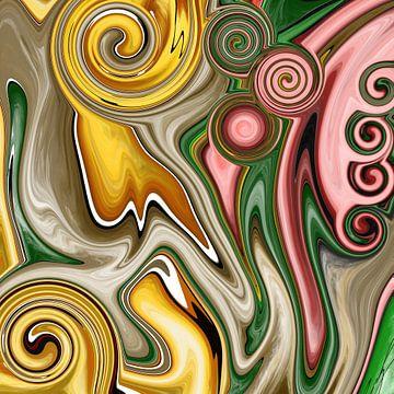 Abstracte kunst - Vloeibare Schilderdeformatie van Patricia Piotrak