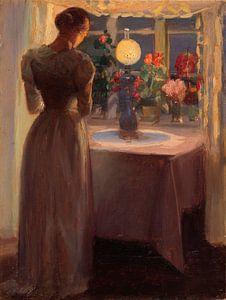 Junges Mädchen vor einer brennenden Lampe, Anna Ancher