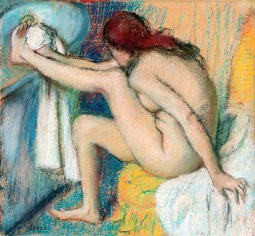 Nackte Dame. Frau, die ihren Fuß trocknet, Edgar Degas (ca. 1885-1886) von Atelier Liesjes
