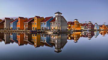 Weerspiegeling Reitdiephaven Groningen van Martin Winterman