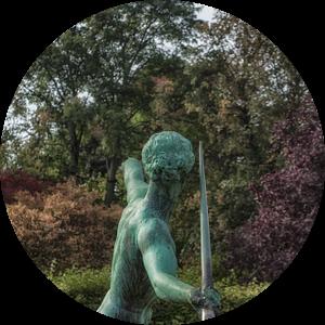 Speerwerper - bronzen figuur van Petra Dreiling-Schewe