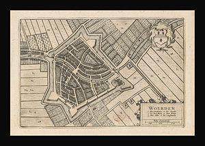 Oude kaart van Woerden van omstreeks 1652.