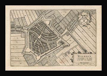 Oude kaart van Woerden van omstreeks 1652. van Gert Hilbink