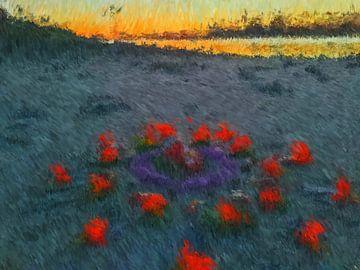 Mandala der Feuerblumen von Greta Lipman