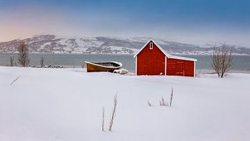 Rode hut in de sneeuw, Noorwegen van Adelheid Smitt