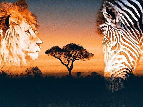 African sunset van Nannie van der Wal