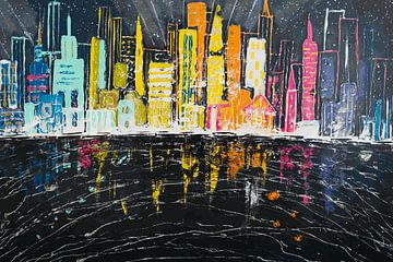 Skyline - Digitaal Kunstwerk in Zwart en Regenboog kleuren van Art By Dominic