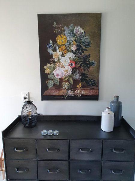 Klantfoto: Stilleven met bloemen, Eelke Jelles Eelkema (gezien bij vtwonen), op canvas