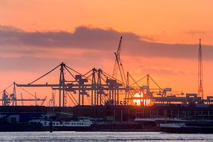 Haven Rotterdam bij zonsondergang