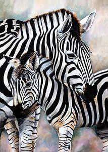 jonge zebra met zebramoeder