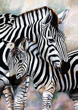 jonge zebra met zebramoeder van Angelique van den Berg