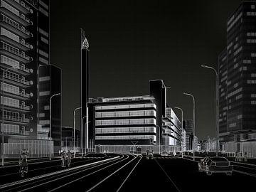 Dudok's Bijenkorf wit op zwart, Rotterdam van Frans Blok