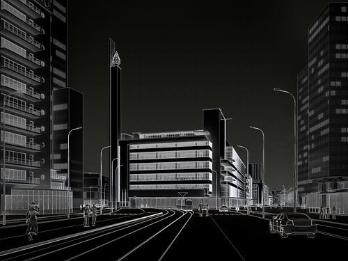 Dudok's Bijenkorf wit op zwart, Rotterdam van