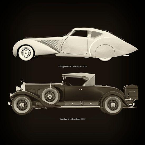 Delage D8-120 Aerosport 1938 en Cadillac V16 Roadster 1930
