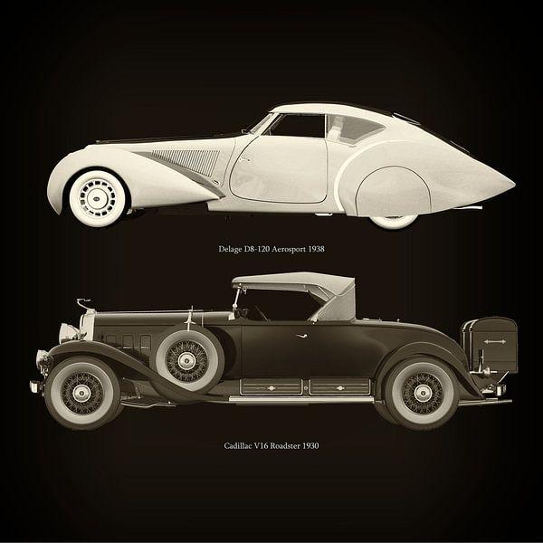 Delage D8-120 Aerosport 1938 en Cadillac V16 Roadster 1930 van Jan Keteleer