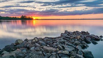 Zonsondergang van het meer van Samuel Houcken