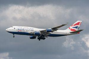 Boeing 747-400 van British Airways in One World Livery klaar voor de landing op Londen Heathrow.