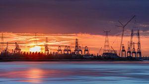 Containerterminal in een oranje sunset_1