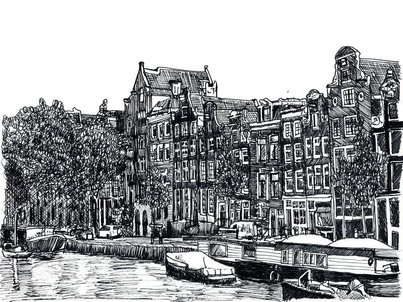 Pentekening Herengracht Amsterdam Nederland Tekening Lijntekening van Hendrik-Jan Kornelis