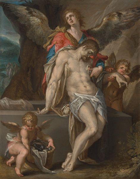 Der von Engeln unterstützte Leib Christi, Bartholomeus Spranger von Meesterlijcke Meesters