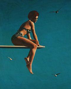 Portret van een vrouw zittend op een duikplank van Jan Keteleer