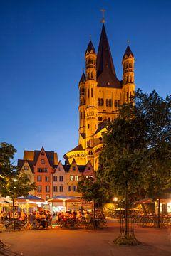 Fischmarkt mit Kirche Gross Sankt Martin in der Abendd�mmerung, K�ln