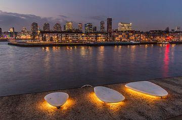 Noordereiland in Rotterdam bij zonsondergang van Peter Hooijmeijer