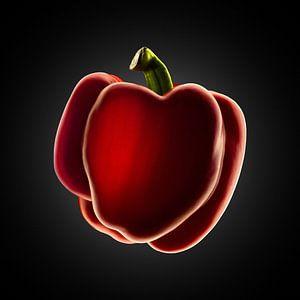 Food-Rode paprika op zwarte achtergrond